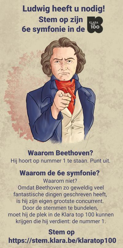 Tekening van Ludwig Van Beethoven die oproept tot stemmen.