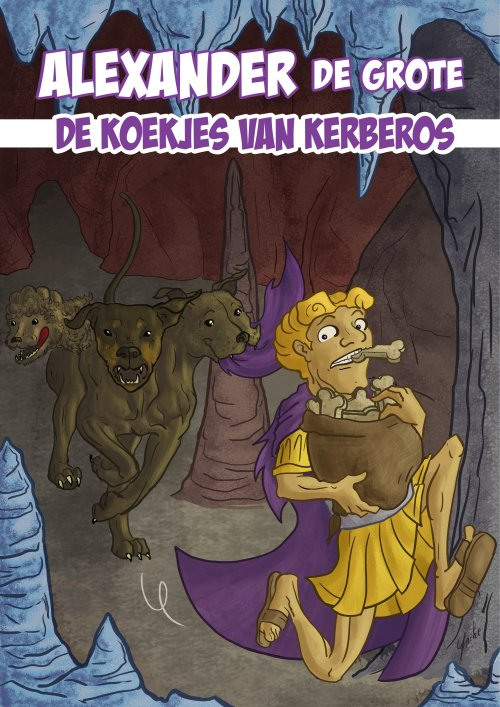 A copmic cover in which Alexander the Great - a dog biscuit between his teeth - is running from a poodle, doberman and stafford headed Kerberos, a big bag of dog biscuits in his hands.