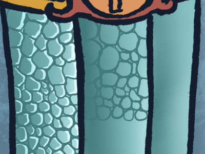 Close up of a work in progress in which a lot of cells are drawn to achieve a scaly texture.