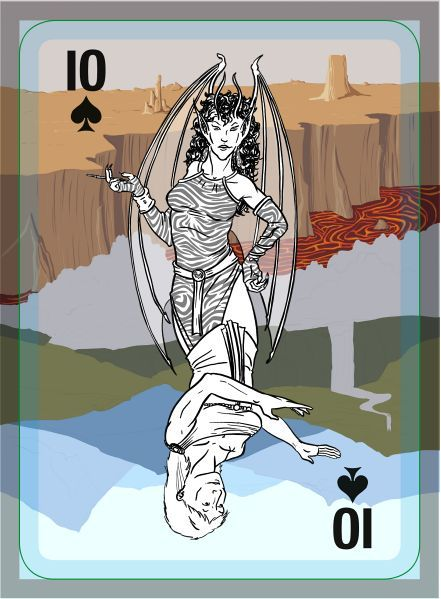 Coloured work in progress drawing on a playing card.