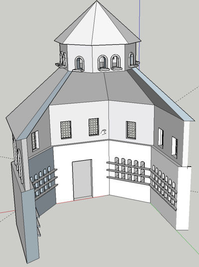 A print screen from SketchUp, showing a octagonal pidgeon loft with three sides missing so that you can see the inside easily.