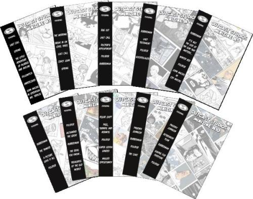 The covers of the first 10 Outcast Studios Minizines