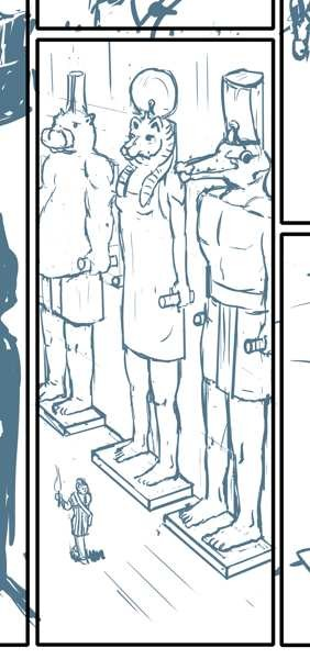 Bluish sketch of three big Egyptian style statues of people with animal heads, a character with a torch is walking at the feet of them.
