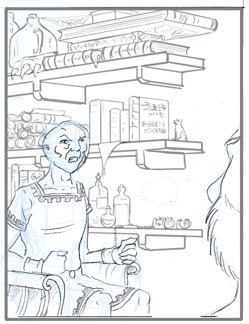 Two characters on the foregrond in conversation, with a filled book case in the background. The characters are in pencil, the background is digital line work.
