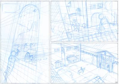 Work in progress of a comic page in blue panel with a lot of perspective lines.