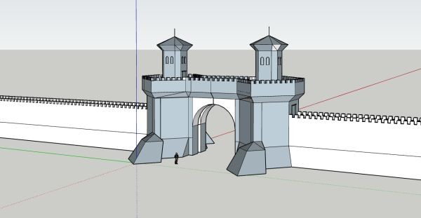 A blocky model of a big reinforced gateway tower in a wall.