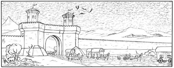 A wide panel. There's a wall with a lot of small battlements going from left to right, interrupted by a gate through which a caravan is travelling.