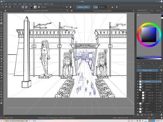 Screenshot of Krita, with a work in progress of an Egyptian style gate with blueline people going through it. The perspective rulers are visible.