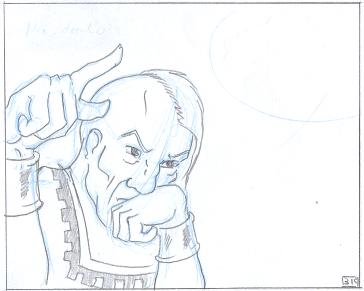 Pencils of a comic panel for Per'Bat, in which the Ruler of the Five Thoughts casually gives an order.  No text.