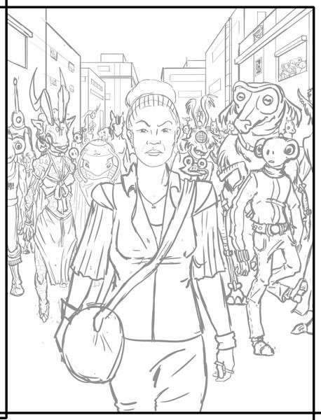 Sarah Neslo is walking in the middle of the panel towards the reader. She has a determined look on her face. In the background, she's followed by a multitude of different types of aliens.