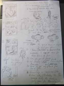 A photo of a pencilled page, containing thumbs for three pages, various sketches of creatures and text that is not readable. (Because I don't want to spoil things. :) )