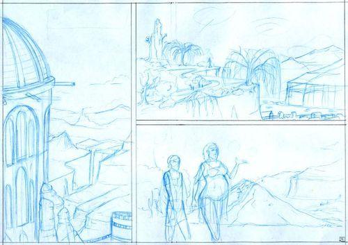 Blue pencilled comic panel.