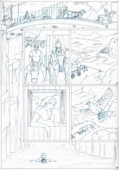 Pencilled comic page.