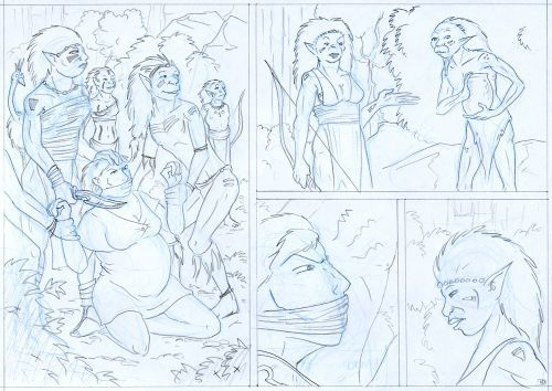 Grey pencilled comic page.