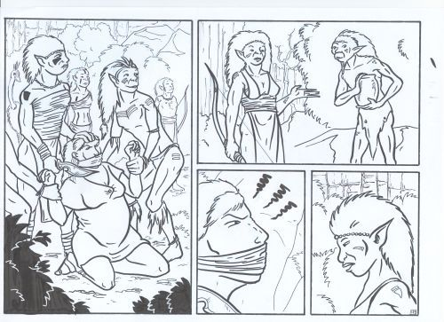 Raw scan of inked comic page.
