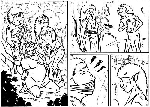 Inked comic page.