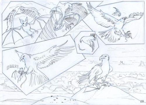 Pencilled comic panel.