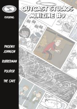 Cover of the Outcast Studios Minizine. It features a tilted collage of comic panels, and the titles of the stories inside