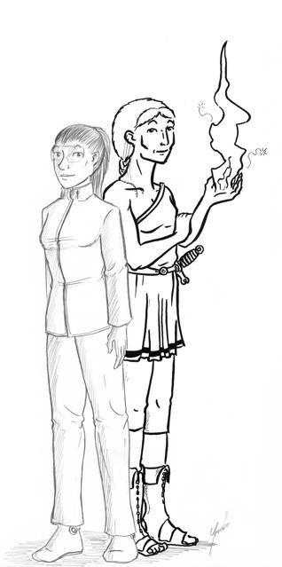 Iarla en de dochter van de Vijf Gedachten rug aan rug.